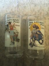 The Saturday Evening Post 1920's Norman Rockwell Glasses Set of 2