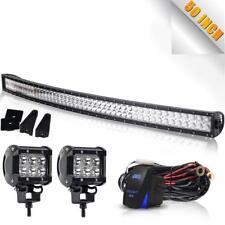 50'' Curved LED Light bar Windshield Roof +4'' Cube Pods For Jeep Wrangler JK TJ