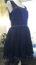 Miss Selfridge Party Dress sheer/ Lace & Diamonte net lined NEW £75 UK 16 BLACK