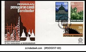 INDONESIA - 1983 Restoration of the Borobudur Temple - 3V - FDC