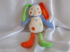 Doudou lapin, écru, orange, vert, bleu, grelot,, Nounours