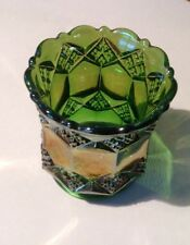 Vintage Imperial Carnival Glass Iridescent Green Toothpick Holder