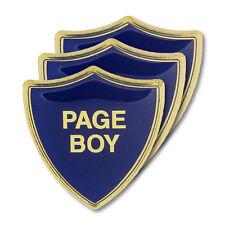 Page Boy Blue Wedding Shield Badge