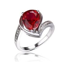 White gold finish red waterfall ruby & created diamond ring