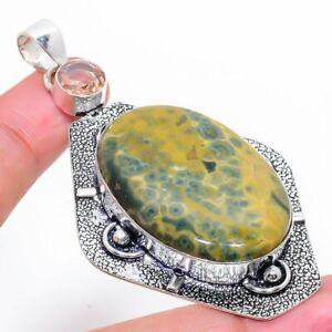 "Ocean Jasper, Morganite Gemstone Ethnic Handmade Jewelry Pendant 2.88"" RL-8783"