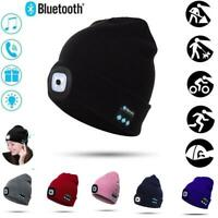 Bluetooth Winter Warm Knitted Beanie Hat Headphone Cap LED Light USB Charging