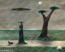 Art Print/Poster/Walking Black Cat/by Gertrude Abercrombie/Repro./8x10 inch