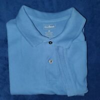 LL Bean Men's M Short Sleeve Solid Blue 100% Cotton Polo Shirt