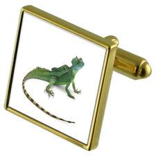 Reptile Lizard Gold-Tone Cufflinks Crystal Tie Clip Gift Set