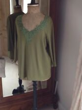Ann Harvey Green Cotton Jersey Top Size 18, Elbow Sleeve Length Sleeve Plus Size