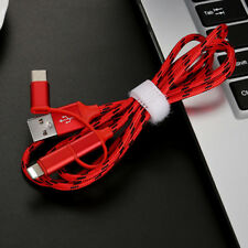 Nylon USB C+Lightning+Micro USB 3 in1 Charging Data Syn Cable for Android iphone