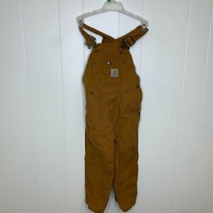 Kids Youth Carhartt Double Knee Overalls Logo Pants Tan Brown Size 4 Vintage EUC