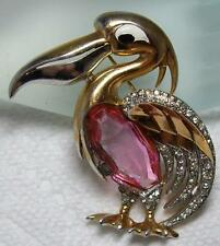 MARCEL BOUCHER PELICAN Bird Brooch Pin- Rare Pink Glass Rhinestone Jelly Belly
