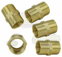 "5 Pack 1/4"" Female NPT Brass Pipe Coupler Union WOG Air Fuel Connector Fitting"