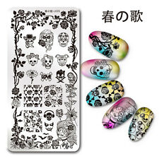 Nail Art Stamp Plate SKull Rose Theme Manicure Image Template Harunouta L035