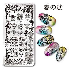 1Pc Nail Art Stamp Plate SKull Rose Theme Manicure Image Template Harunouta L035