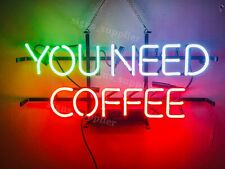 "New You Need Coffee Neon Sign Light Lamp 20""x16"" Bar Wall Pub Decor Holiday Gift"