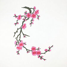 Plum Blossom Flower on Vine Stem Embroidery Iron On Applique Patch Pink