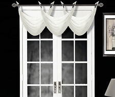1 ELEGANT GROMMET VOILE SHEER VALANCE SWAG TOPPER WINDOW DRESSING K36 WHITE
