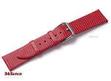 18mm Red Genuine Leather Cowhide Lizard Grain Thin Watch Strap Bracelet Band
