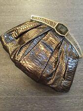 Nada Sawaya python exotic snakeskin purse brown skin clutch evening bag EUC