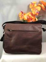 FOSSIL Mens Brown Pebbled Leather Messenger Crossbody Bag