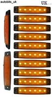 10 Pcs Orange Amber 12v 6 Led Side Marker Indicators Lights Truck Trailer Bus