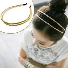 Fashion Womens Double Chain Jewelry Metal Headband Hair Hoop Headpiece Hair Band