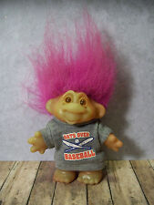 "Sporty Vintage Thomas Dam Troll - 5"", Baseball Player - Pink Hair"