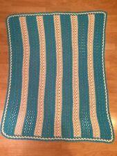Vintage Afghan Blanket Handmade Crochet Blue & White Stripes 51x41 Grandma