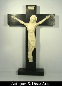 Giant Enamelled Cast Iron Art Deco Crucifix