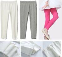 Toddler/Little Girls Basic Cotton Ankle Leggings Full Length Kids Pants