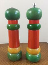 "Vtg OLDE THOMPSON Pepper Mill Grinder & Salt Shaker Set 8.5"" GREEN RED WOOD USA"