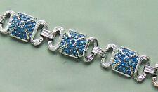 Vintage ENCO Blue Rhinestone Silver Tone Link Bracelet