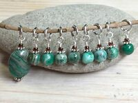 Handmade Knitting Stitch Marker Set (SNAG FREE)- Green Agate