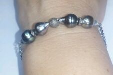 NATURAL BLACK GRAY GENUINE TAHITIAN PEARL 1CT DIAMOND SILVER TOGGLE BRACELET