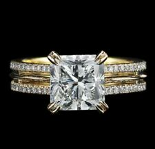8mm Princess Cut VVS1 White Diamond Antique Engagement Ring 14K Yellow Gold Over