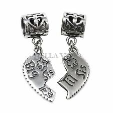 925 Sterling Silver Big Little Sister Love Heart Pendent Dangle Euro Charm Bead