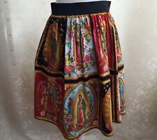 RARE Virgen de Guadalupe 100% Cotton Skirt with Pockets Elastic Waist by Hemet