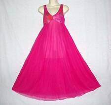 """Vtg Jenelle Floral Fuchsia Chiffon 110"""" Sweep Quality Sheer Sexy Nightgown S"""
