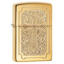"Zippo ""Deep Carved Cross"" HP Brass Lighter, Armor, ***Flints/Wick***   29436"