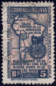 1948 Bolivia SC# 330 - F - Map and Emblem of Bolivia Auto Club - Used