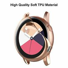 2 Pack Samsung Galaxy Watch Active Case Anti Scratch Full Cover Clear Rose Gold