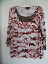 Womens Dana Buchman Animal Print Lace Beads 3/4 Sleeve Boho Top Shirt Tunic Sz L