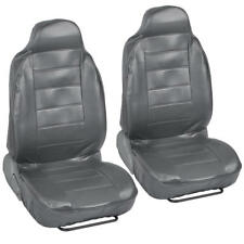 Pair of High Back Bucket Seat Covers in Gray Synthetic Leather 2pc Set