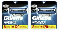 Lot of 2- Gilette Mach3 Turbo Blade Razor Refills Cartridge Replacements, 8 Pack