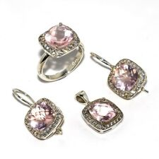 Rose Quartz, White Cz Natural Gemstone 925 Sterling Silver Jewelry Set SS-5