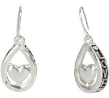 NEW Lovely Heart in Teardrop Love Dangle Drop Silvertone Earrings