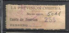 8377-SELLO ESPAÑA CUOTA LA PREVISION OBRERA EN CATALAN Y CASTELLANo 1947