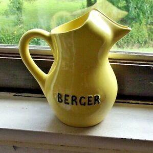 Ancien Pichet Berger 75cl Céramique Jaune Vintage Paris Guinguette Bistrot .